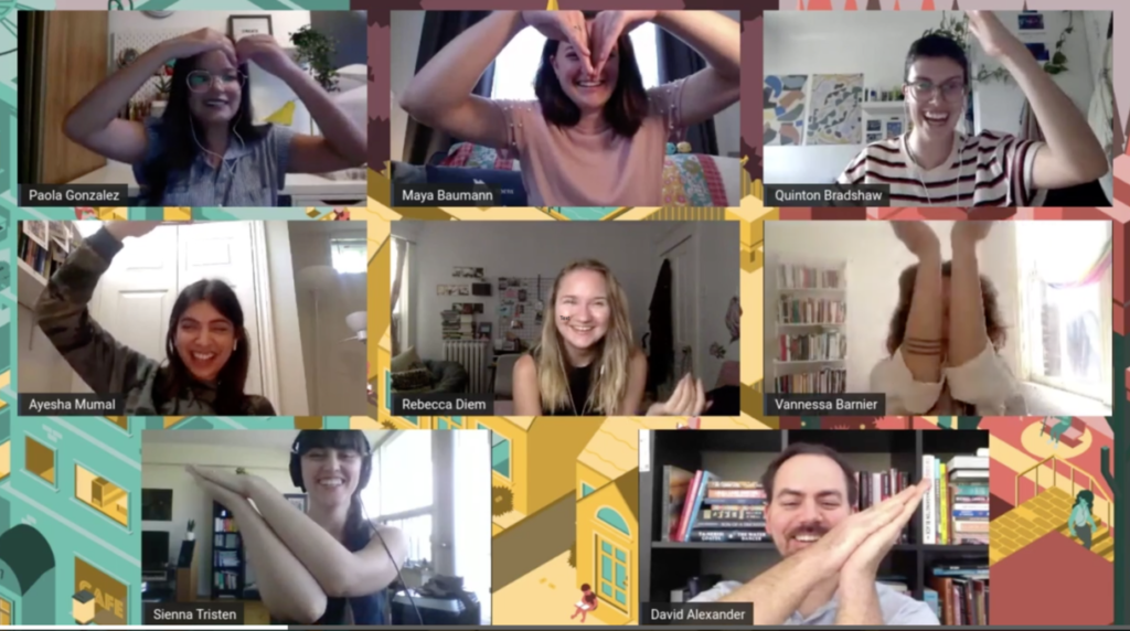 The Word On The Street Toronto's 2020 staff attempting to make a heart with their arms in 8 different video 'boxes' and laughing.
