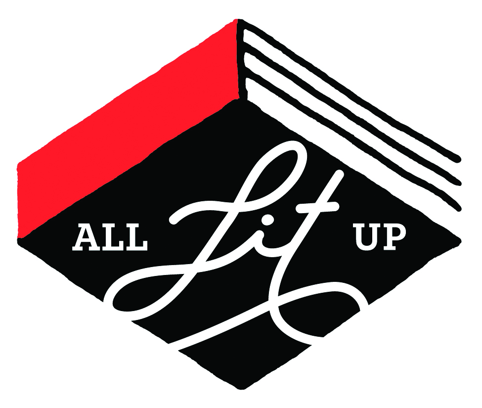 """The All Lit Up logo has a book in the center of a white background with a bright red spine. The book cover says """"All Lit Up""""."""