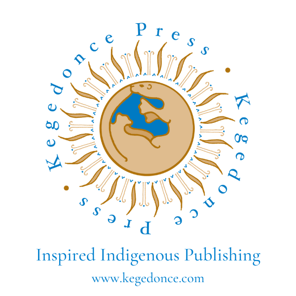 """The Kegedonce Press logo is a circle in the center of the image made up of a light brown otter, made to look like the Earth. It is surrounded by blue and brown wavy line art. Around the circle the text says """"Kegedonce Press."""" Underneath the image it says """"Inspired by Indigeouns Publishing"""" and """"www.kegedonce.com""""."""